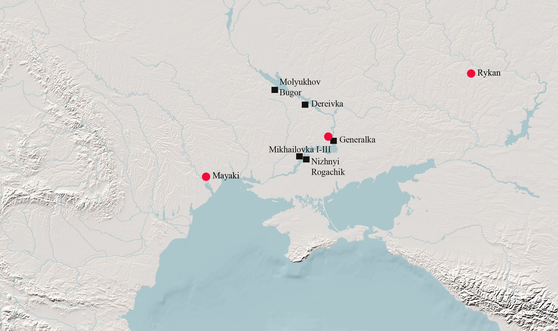 Settlements north of the Black Sea from which samples for organic residue analyses (black squares) and isotope analyses (red circles) were taken | Map © Doris Bordon