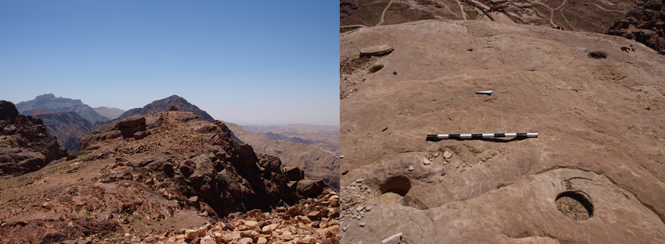 Left: A small hilltop sanctuary at Ras Slaysil, prominently displayed at the edge of a steep cliff before the dramatic drop towards the Wadi 'Arabah. Right: Presumed post-holes for tent-like installations on top of Jabal Umm Zeythuna in Petra | Author: W. M. Kennedy
